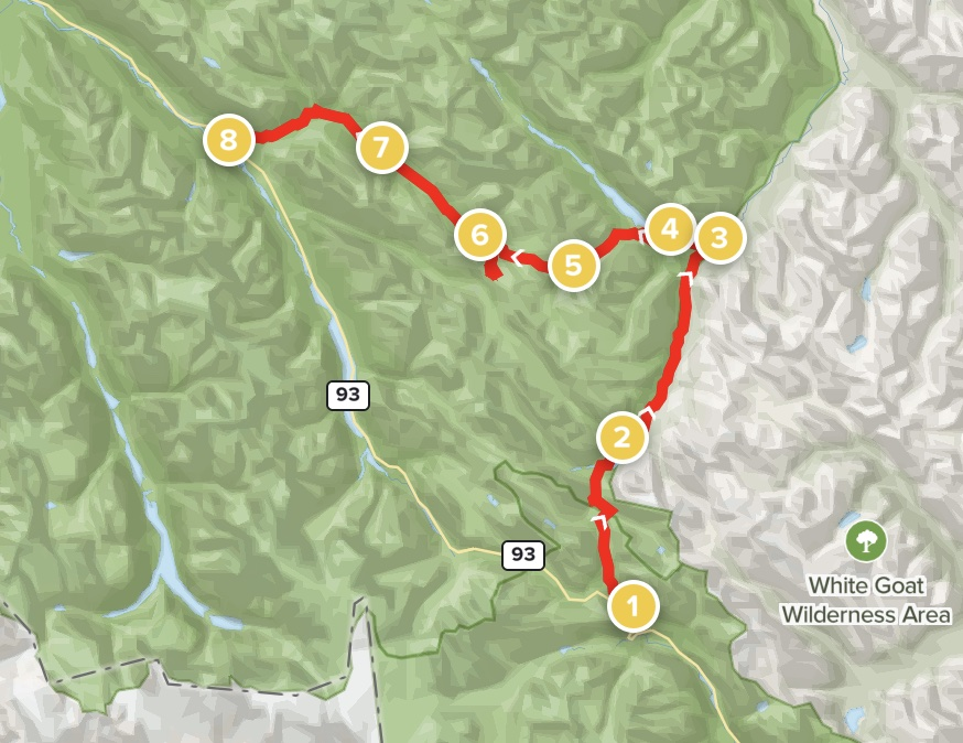 Cataract and Cline Pass and Maligne Pass Route Map