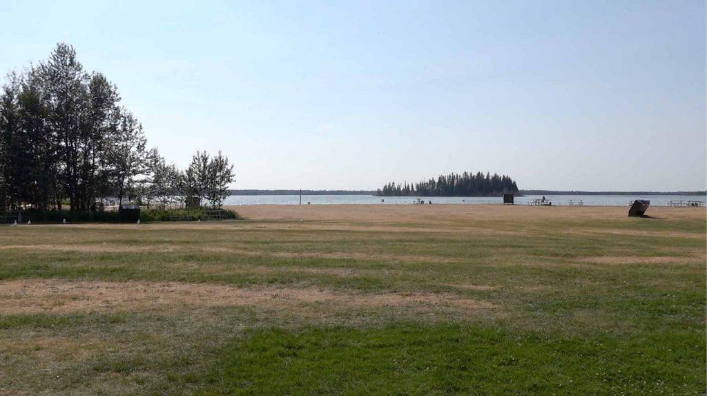 Astotin Lake Island Beach View